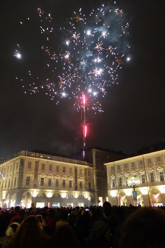 Fire works in Piazza San Carlo