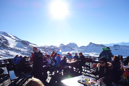 Lunch while skiing in the Alps
