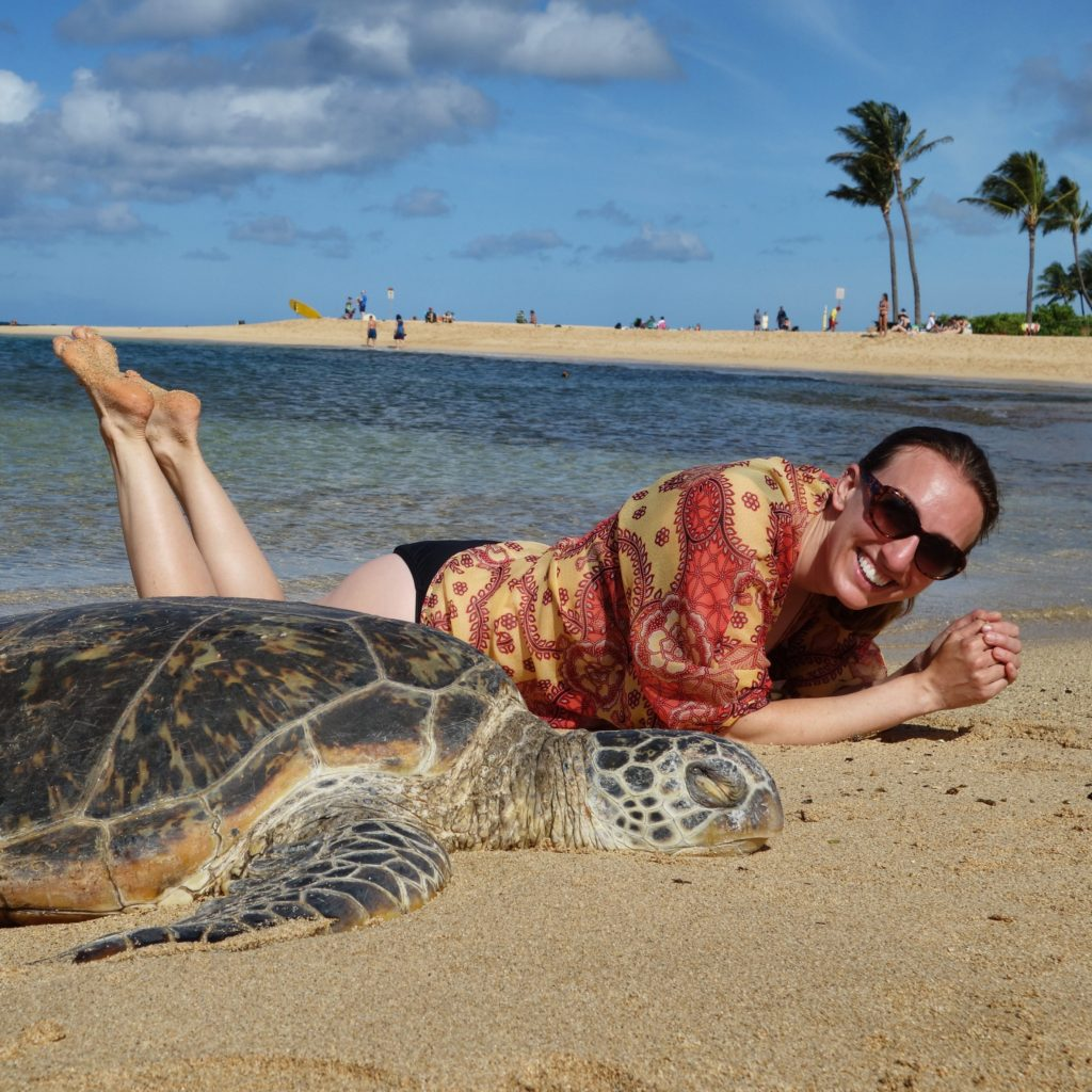 Lindsey and turtle