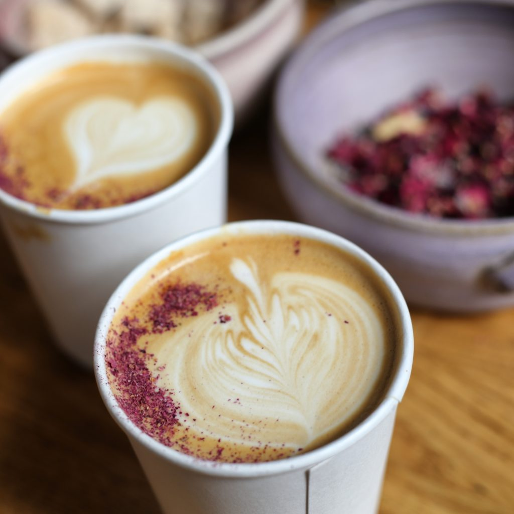 Rose lattes in Notting Hill